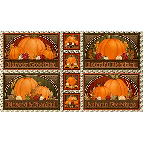 Harvest Greetings Placemat & Coaster Panel Fabric by Quilting Treasure (Coasters Treasures)