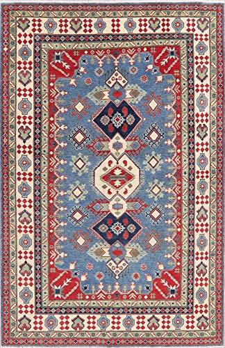 (Oriental Blue Kazak Wool Area Rug Pakistani Hand-Knotted 6x10 New Geometric (9' 11'' X 6' 6'') )