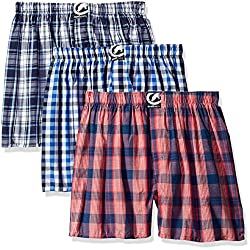ecko unltd. Men's 3pk Woven Boxers 292, Blue/Navy CK/Navy Blue Plaid/Red/Navy CK, Small