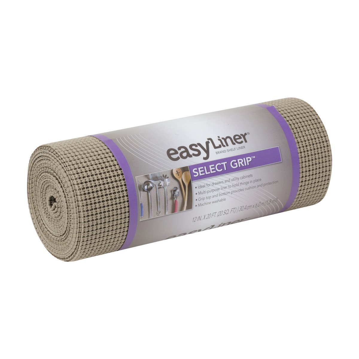 Duck Brand Select Grip Easy Liner Non-Adhesive Shelf Liner, 12 in. x 20 ft, Taupe (1100731)