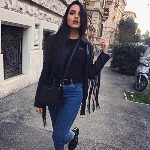 WanYang Mujer Moda Verano Tops De Impresión Carta De Color Sólido T-Shirt Negro