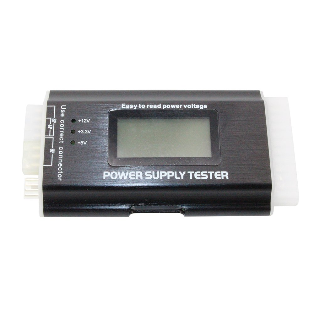 Computer PC Power Supply Tester, ATX / ITX / IDE / HDD / SATA / BYI Connectors Power Supply Tester, 1.8'' LCD Screen (Aluminum Alloy Enclosure) by LiuTian (Image #2)