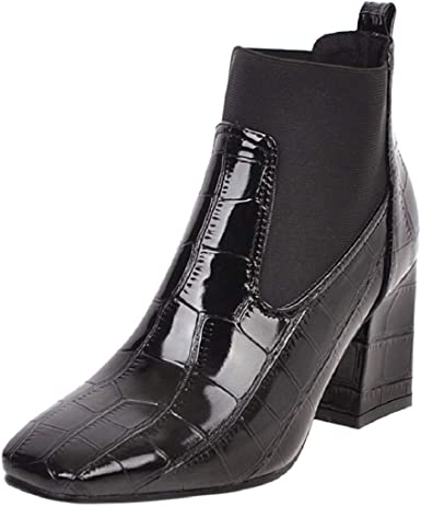 block heel patent ankle boots