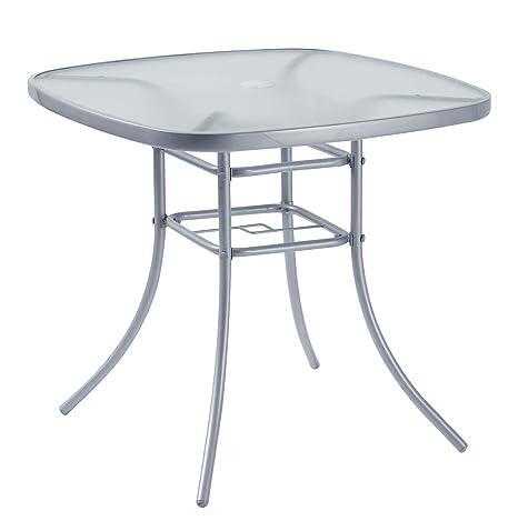 Muebles de jardín Mesa de patio exterior 80 x 80 cm de acero plateado con soporte de paraguas agujero en la parte superior