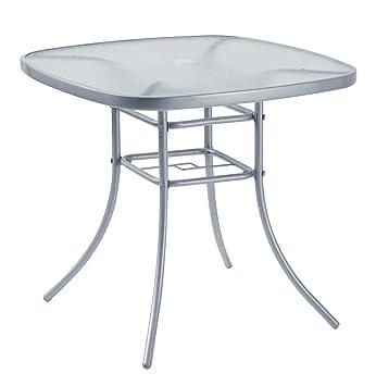 Table d\'extérieur, meuble de jardin, 80 x 80 cm, en acier, argenté ...