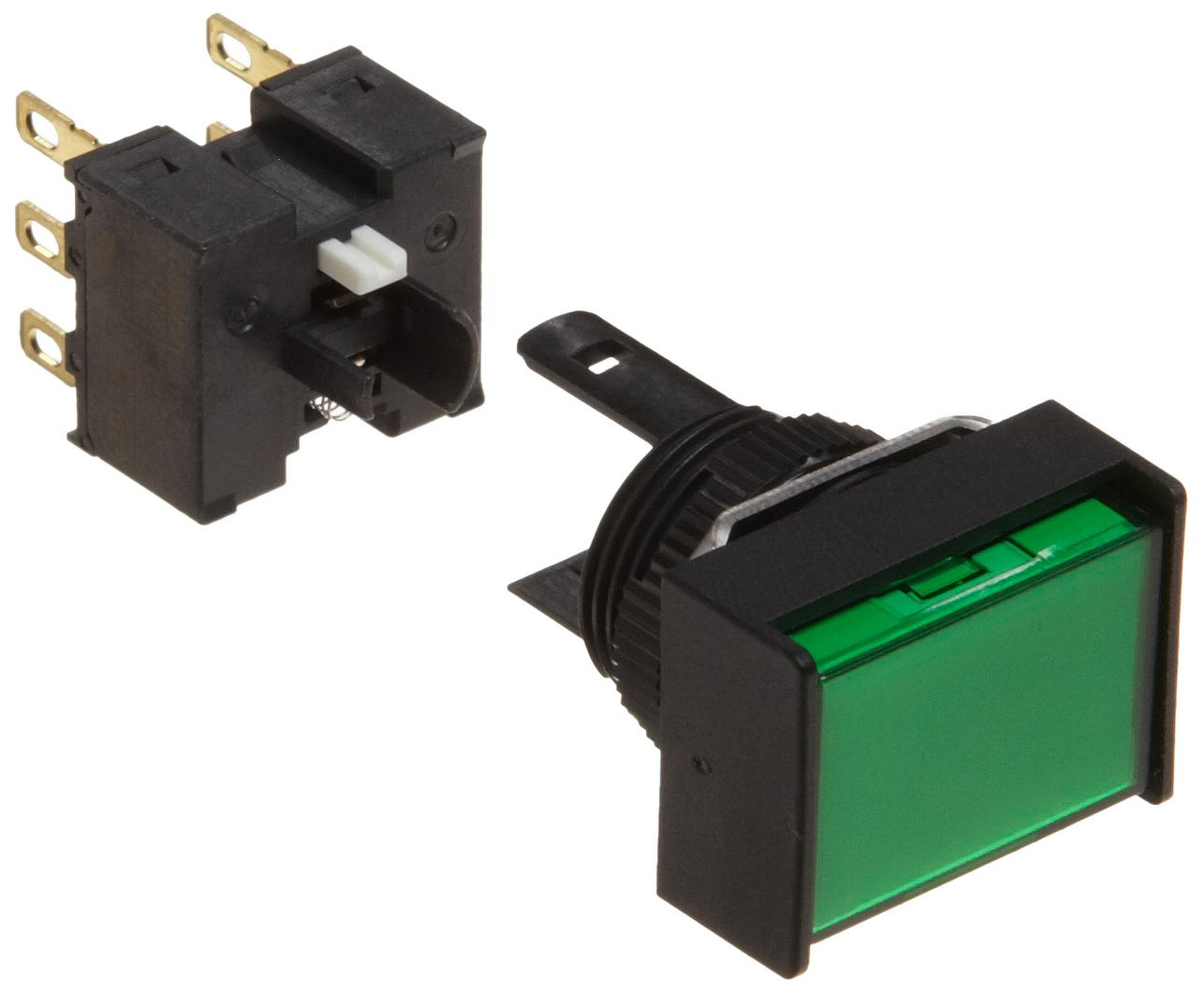 Omron A165-JGM-2 Two Way Guard Type Pushbutton and Switch, Solder Terminal, IP65 Oil Resistant, 16mm Mounting Aperture, Non-Lighted, Momentary Operation, Rectangular, Green, Double Pole Double Throw Contacts