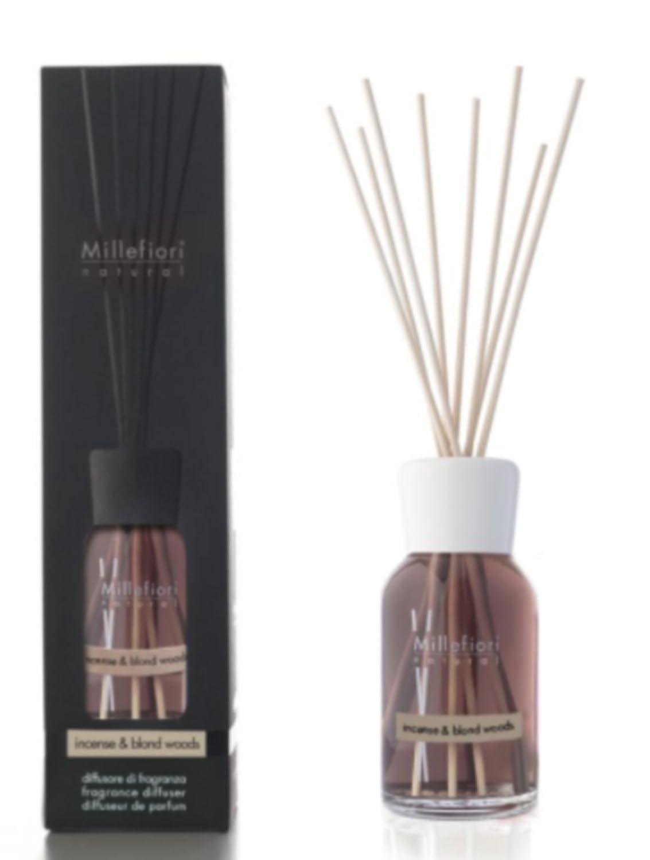 Millefiori Natural Diffusore di fragranza per Ambienti, Incense & Blond Woods, 100ml 7MDIW