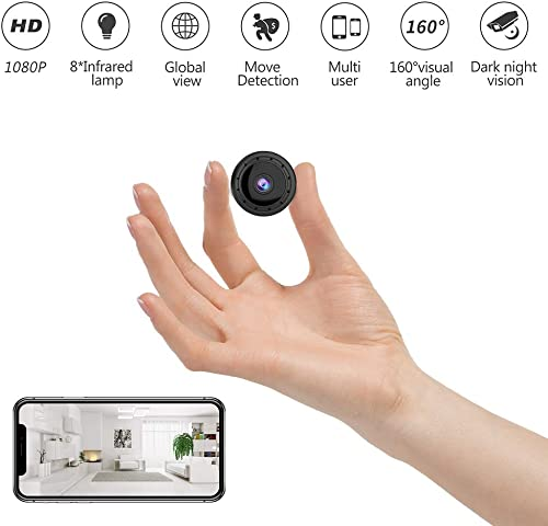 Spy Camera Hidden WiFi Camera 1080P HD Smallest Mini Security Camera 150-Degree Wide-Angle Lens Motion Detection Infrared Night Vision Security Camera with Cell Phone APP