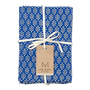 "Fair Trade ""Ananta"" Block Print Cotton Napkins - Set of 4 (Blue)"