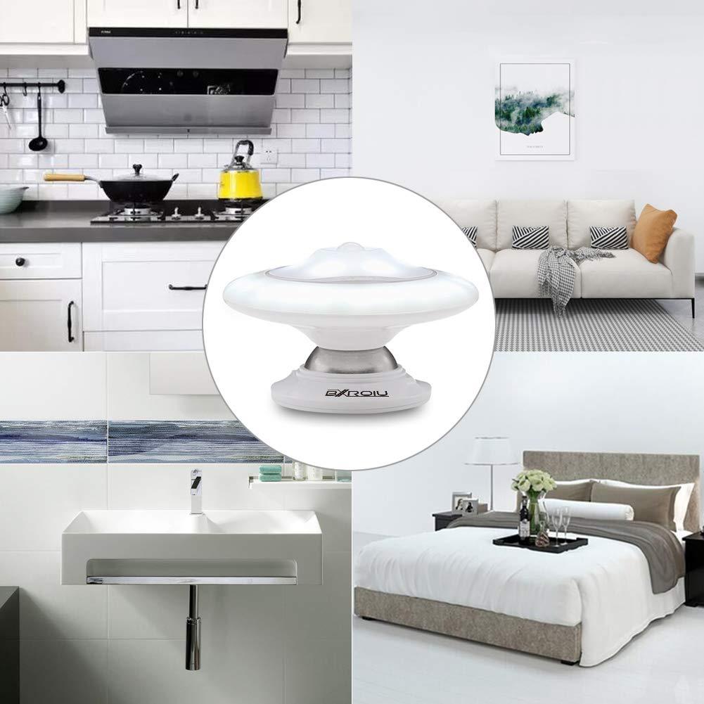 BXROIU LED Nachtlicht Bewegungsmelder USB Aufladbar, 360°Drehbare LED Sensor leuchte Magnetisch und Abnehmbar Nachtlicht für Zimmer, Flur, Keller, Garage, Badezimmer, Schrank (Kaltes Weiß)