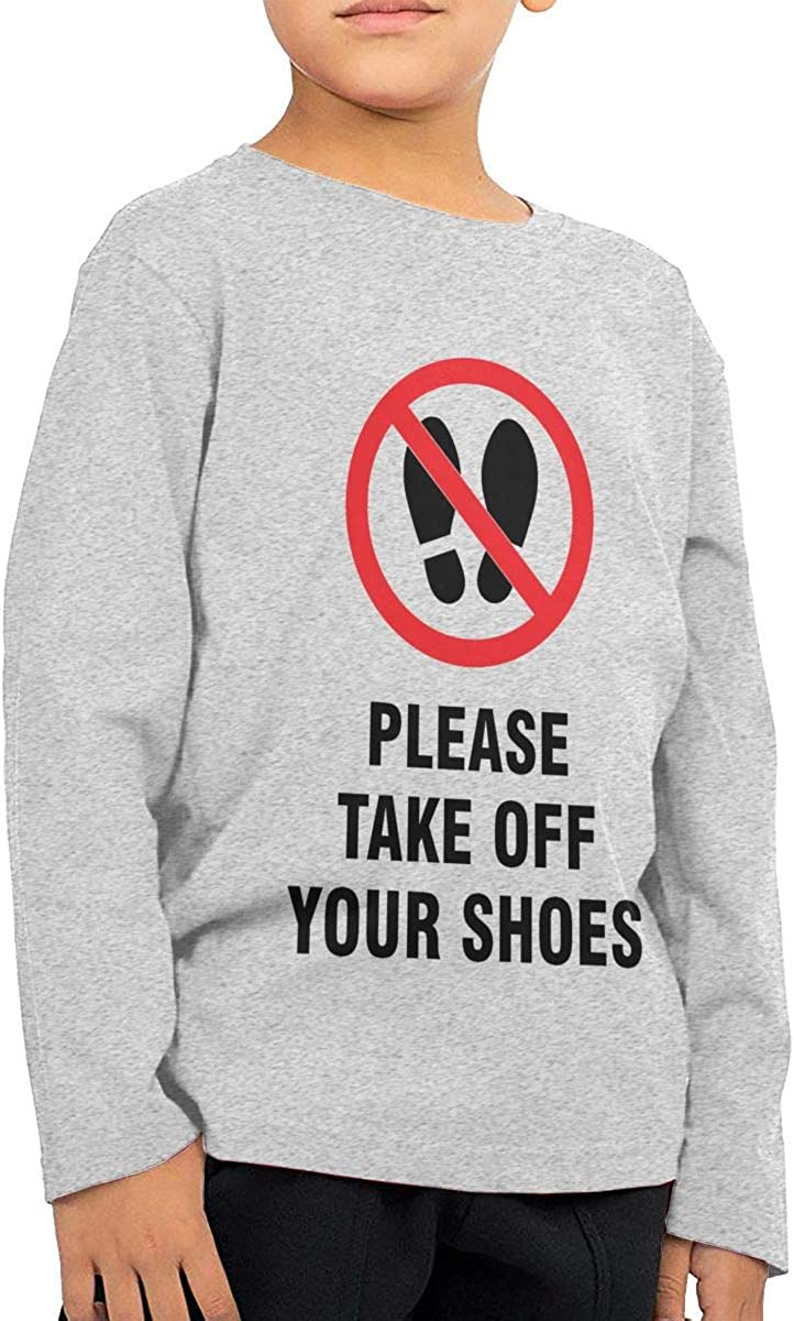Take Off Your Shoes Unisex Boys Girls Long Sleeve Crew Neck Cotton T-Shirts Sweatshirt for 2-6T Baby
