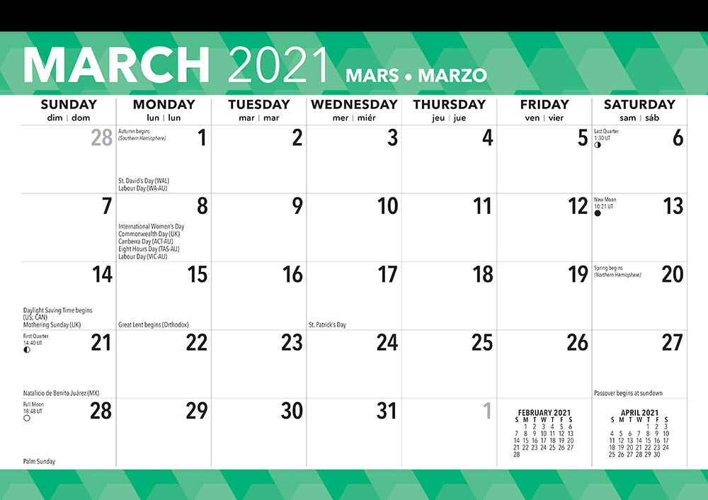 Large Print 2021 17 x 12 Inch Monthly Desk Pad Calendar, Easy to