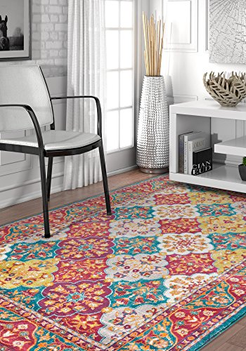 Diana Blue Trellis Multi-Color Modern Area Rug 3x5 (3'11