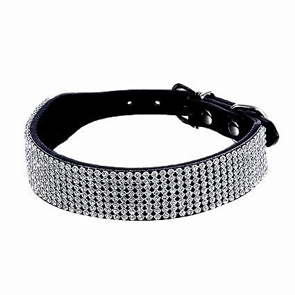 Sobotoo Collar de Piel para Perro, Ajustable con Múltiples Filas y Diamantes de Imitación,