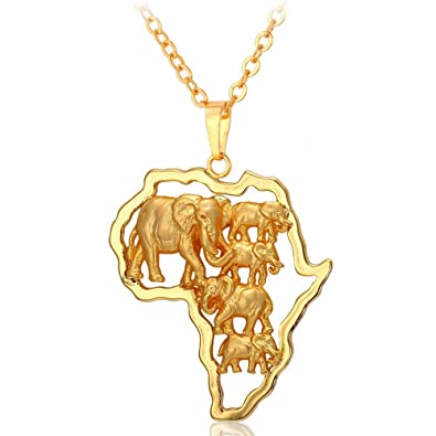 MESE London African Map Necklace 18ct Gold Plated/ Platinum Plated Africa Continent Pendant - Elegant Gift Box zSFsN1YR