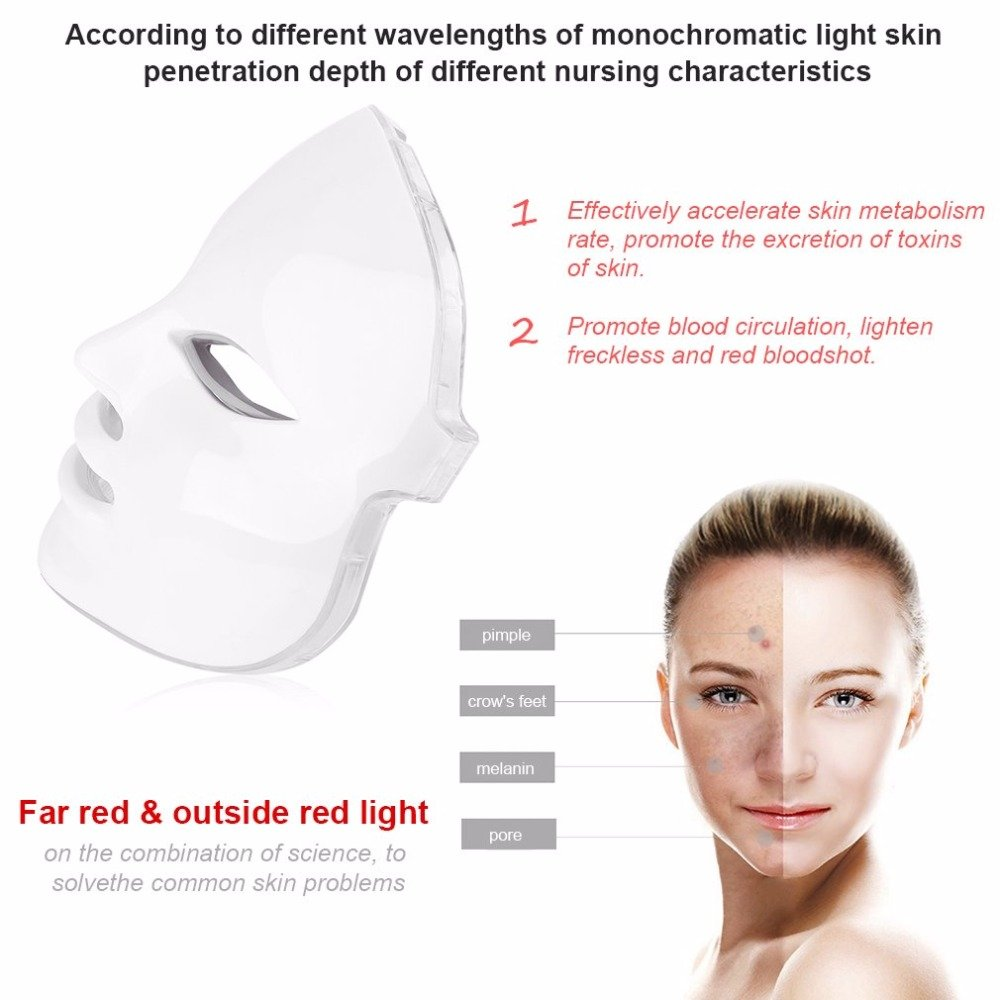 3D Phototherapy Trichromatic Color LED Mask Instrument Cold Light LED electronic Mask Instrument Professional Beauty Rejuvenation Instrument Therapy Facial Skin Care Mask Device (3 Color, White) by Yue live (Image #3)