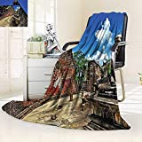 vanfan Super Soft Fleece Throw Blanket Statue Sitting in Lotus Position in Asian Temple Meditation Spiritual Theme Multi,Silky Soft,Anti-Static,2 Ply Thick Blanket. (62''x60'')