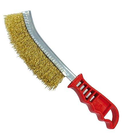 tradeshoptraesio® – cepillo metálico curvada para hierro smeriglia acero latonado para barbacoa