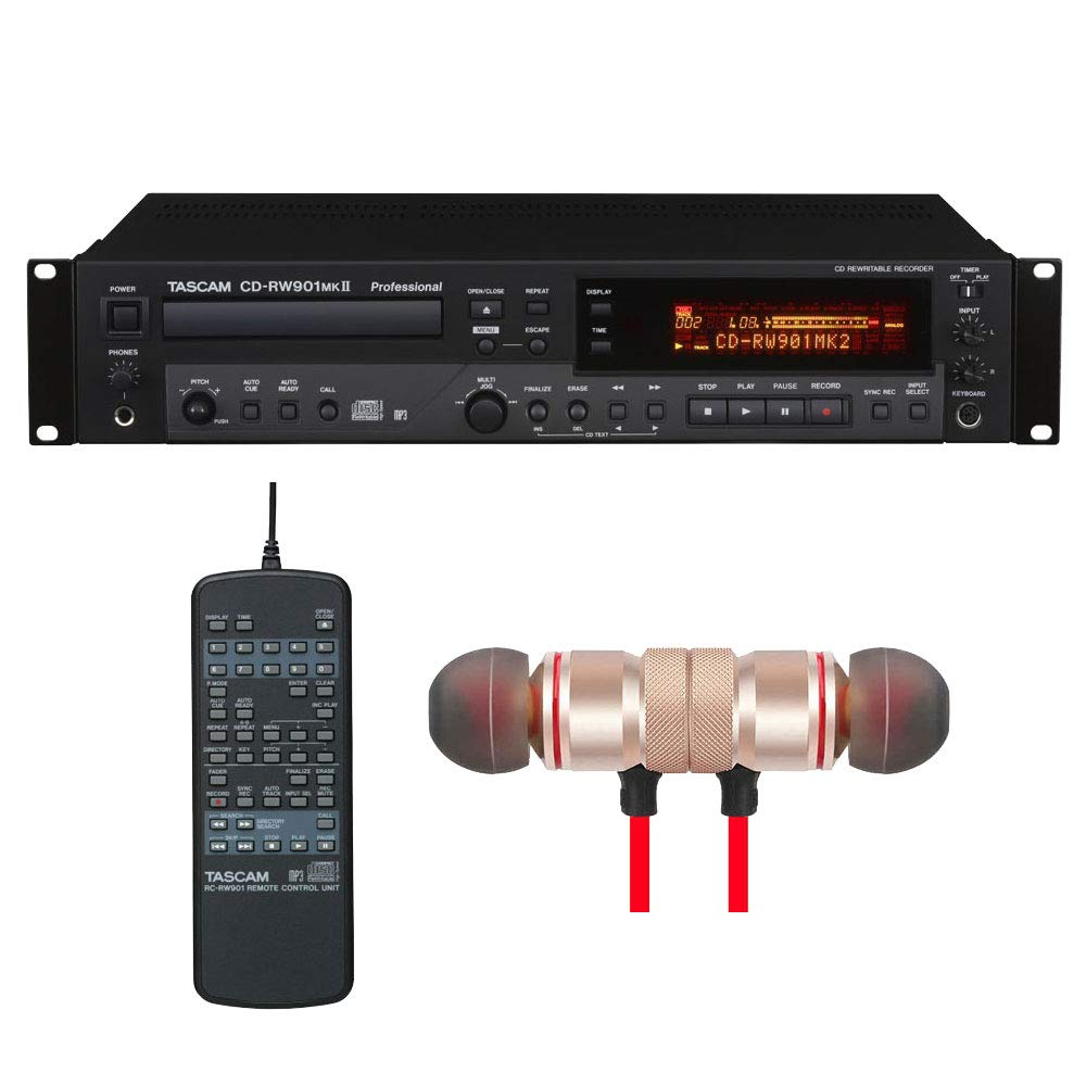 Tascam CD-RW901MKII Professional CD Recorder includes Free Wireless Earbuds - Stereo Bluetooth In-ear Earphones