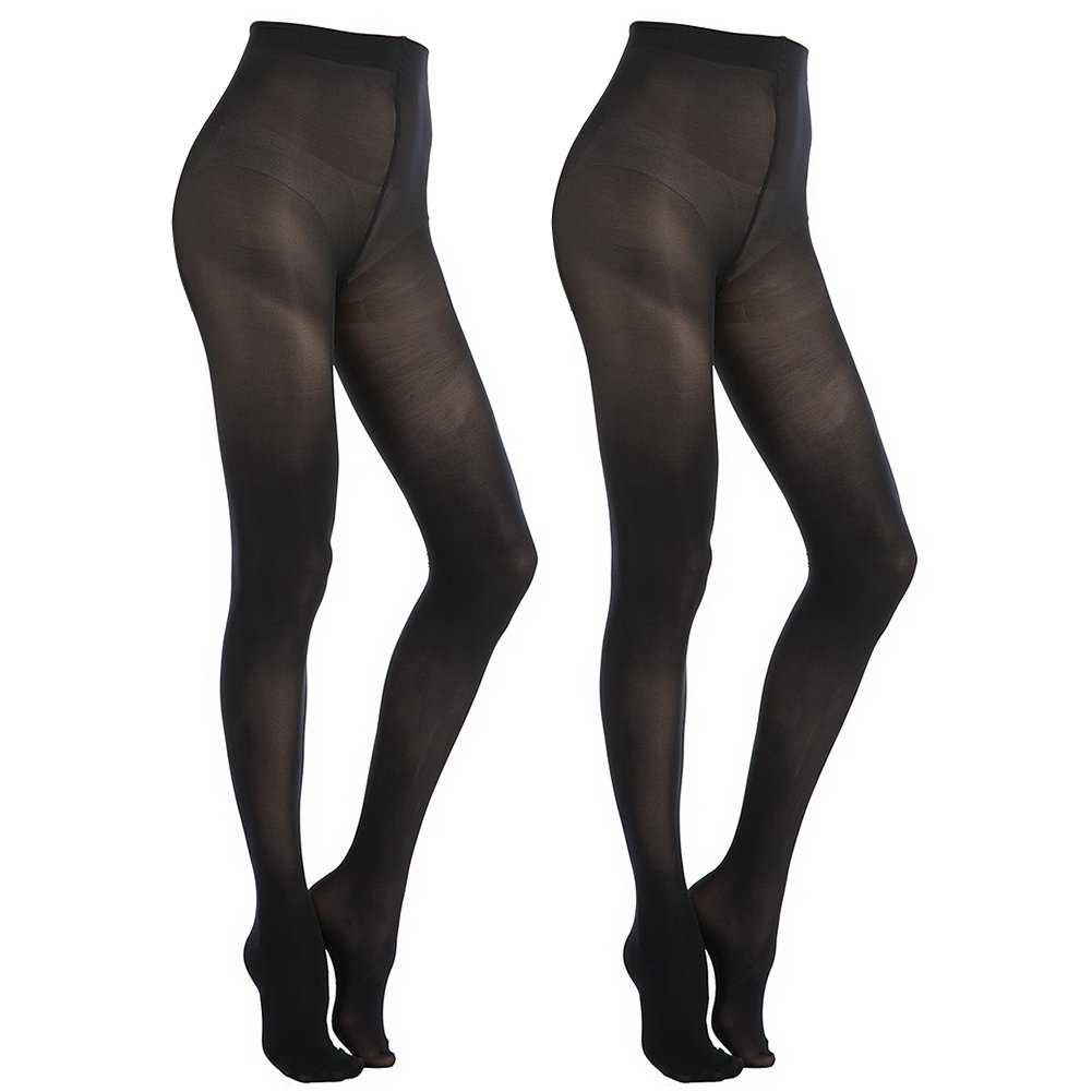 MANZI 2 Pairs 50 Denier Women's Tights Stretch Run Resistant Opaque Velvet Microfiber Yarn Black Tights - Matt Elegance 26032