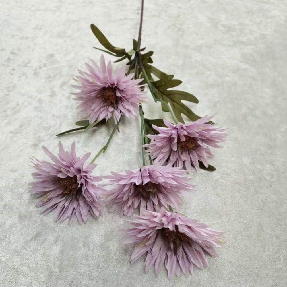 Flores Artificial 5 Cabeza Artificial Artificial Fuegos Artificiales Crisantemo Boda Arreglo Floral Decoración Decoración Floral Hogar Jardín Seda Flor Falsa