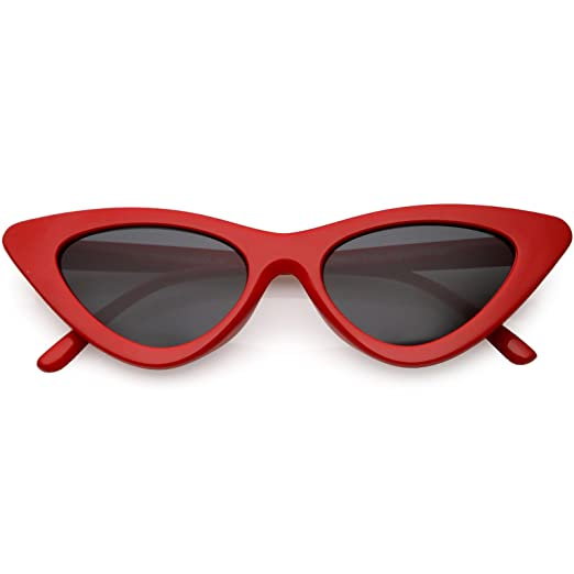 ae2ad36964 sunglassLA - Retro Vintage Trendy Cat Eye Sunglasses for Women with Flat  Triangle Lens (Red