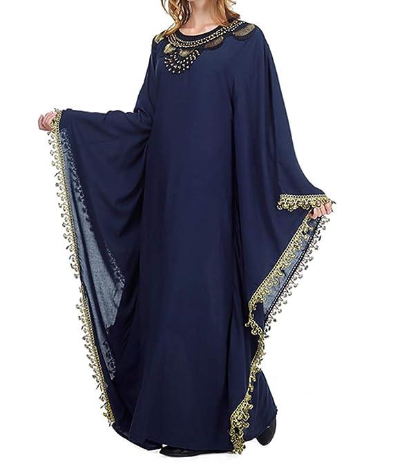 Arabe de Kaftan Mujer Vestidos - Ropa Abrigo Maxi Largo Abaya Musulmana Islamica Bordado Algodon: Amazon.es: Ropa y accesorios