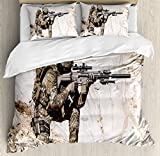 Army Duvet Cover Set by Ambesonne, United States Ranger on the Mountain Targeting with Gun Camouflage War Theme Picture, 3 Piece Bedding Set with Pillow Shams, Queen / Full, Beige Green