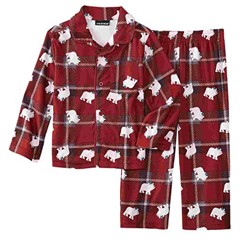 Joe Boxer Infant & Toddler Boys Red Plaid Bear 2-Piece Flannel Pajama Set 3T