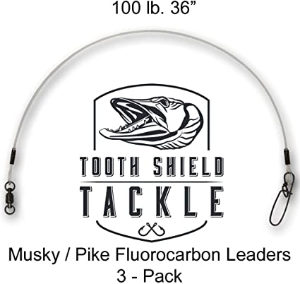 "18/"" Musky FLUOROCARBON LEADERS 5 PACK  18/"" 100 Lbs Test"