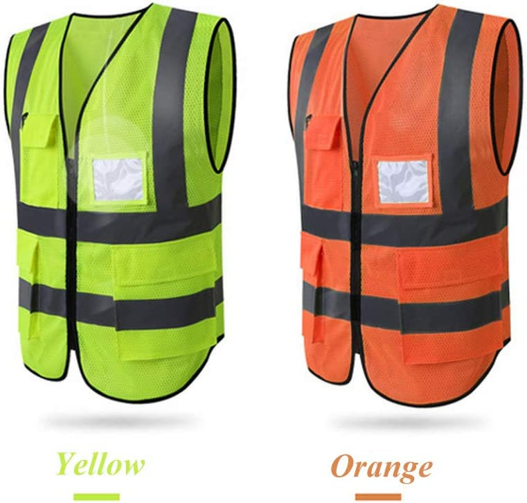 L, Blue-mesh HYCOPROT Hi Vis Viz High Visibility Reflective Safety Vest Mesh Waistcoat Jacket Workwear Executive Manager Zip 2 Band Brace Security Mobile Phone Pocket ID Holder