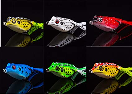 6Pcs Fishing Lures Large Frog Topwater Tackle Crankbait Hooks Bass Bait With Box