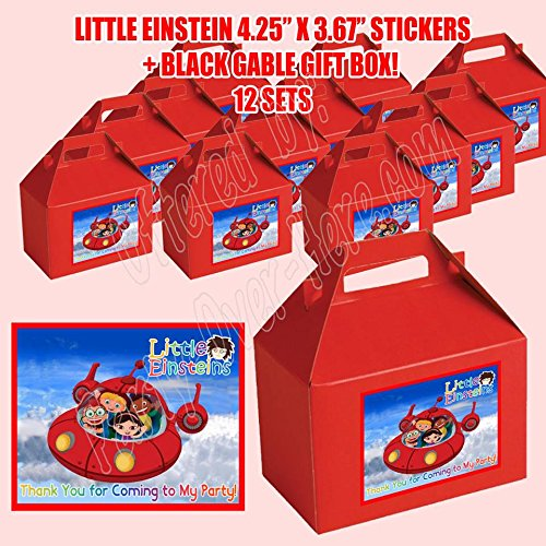 DWP-SP678-45RD Little Einsteins Party Favor Boxes with Thank You Decals Stickers Loots Red Birthday Shower 12 Pieces Great Seller ...
