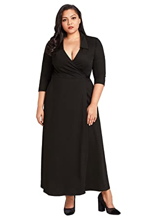 Foryingni Women\'s Plus Size Collared V Neck 3/4 Sleeve Wrap Formal ...
