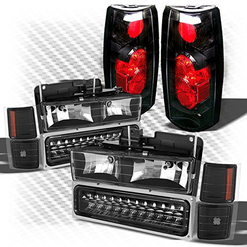 Xtune For 1992-1999 Chevy Tahoe Suburban Black Headlights w/LED Bumper + G2 Altezza Style Tail Lights 1993 1994 1995 1996 1997