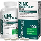 Bronson Zinc Triple Play 30 mg Triple Coverage Immune Support Zinc Supplement with Zinc Acetate, Picolinate & Orotate - Immune, Antioxidant & Skin Health Support - 100 Vegetarian Capsules