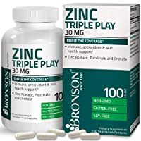 Bronson Zinc Triple Play 30 mg Triple Coverage Immune Support Zinc Supplement with...