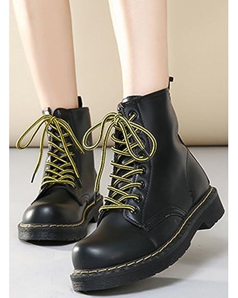 Minetom Damen Herbst Winter Schnür Stiefeletten Bootsschuhe Schlupfstiefel Wasserdicht Flache Schuhe Trendy Schwarz Mit Plüsch EU 35 F8fammwX