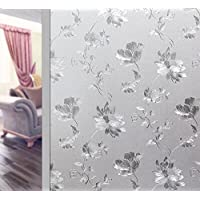 Glass Window Film Waterproof Adhesive Privacy Glass Sticker Flower PVC Frosted Opaque