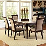 Steve Silver Company Marseille 7 Piece Marble Top Dining Table Set in Dark Cherry Review