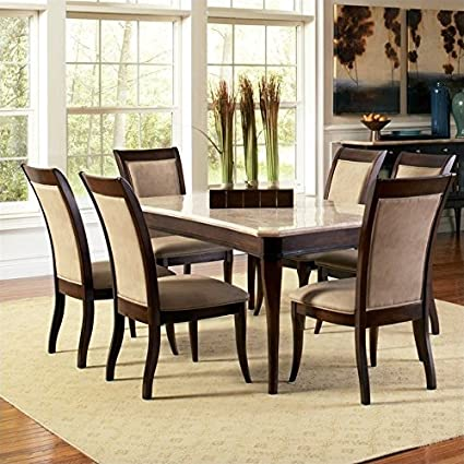 Amazon Com Steve Silver Marseille 7 Piece Marble Top Dining Set In