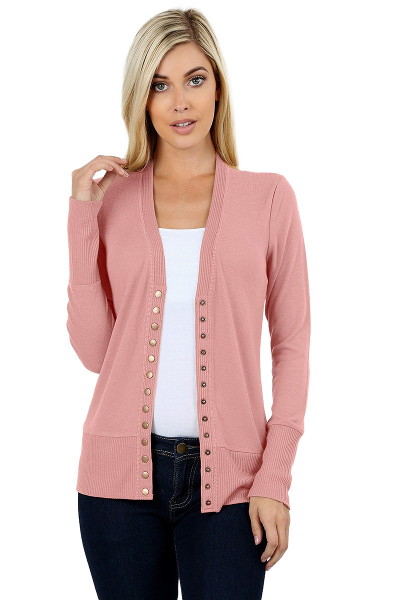 Cardigans for Women Long Sleeve Cardigan Knit Snap Button Sweater Regular & Plus - Dusty Rose (Size 2X)