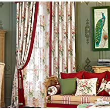 """IYUEGOU Country Rustic Print Cotton Multi Floral Energy Saving Grommet Top Curtain Draps 72"""" W x 96"""" L (One Panel)"""