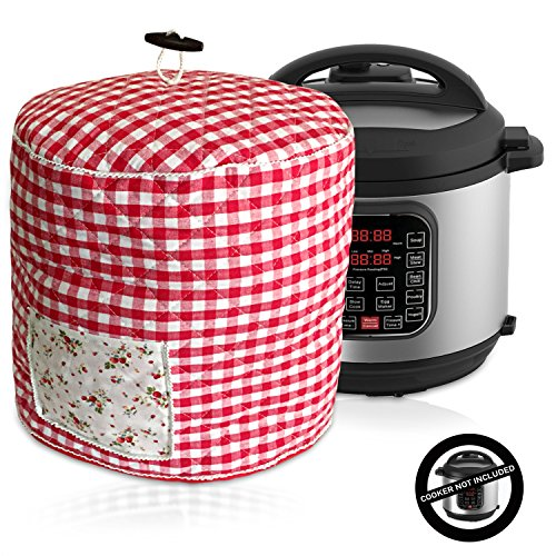 Debbiedoo's Pressure Cooker Cover - Custom Made Accessories - Fits 6 QT Instant Pot Models (Red and White Gingham)