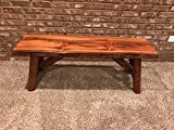 Rustic Log Bench Pine and Cedar with Live Edge Furniture (4′, Indoor Honey Pine) For Sale