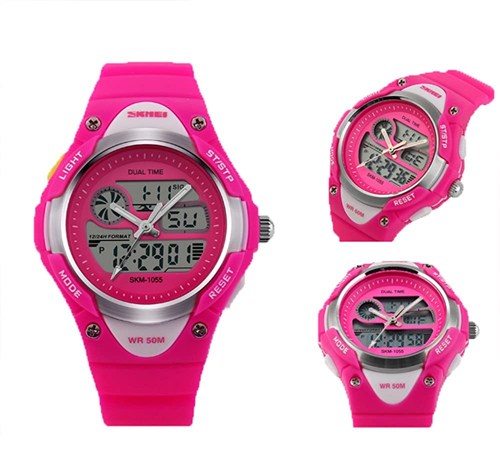d9282c015f92 amstt niña Sport niños relojes Niño Niña digital impermeable alarma reloj  de pulsera para el Edad 7 - 15 Años Niños (Rosa)  Amazon.es  Relojes