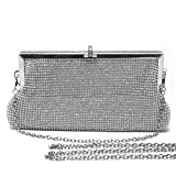 Mlife Women Crystal Clutch Evening Bag with Two Removable Chain Strap (Sliver)