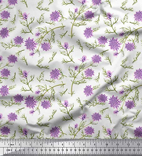 - Soimoi White Cotton Voile Fabric Saucer Magnolia & Dahlia Floral Printed Craft Fabric by The Yard 42 Inch Wide