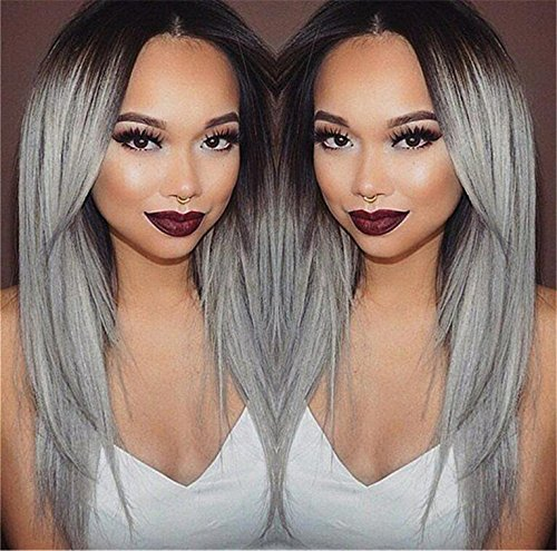 Superwigy Long Straight Black and Grey Ombre Wig