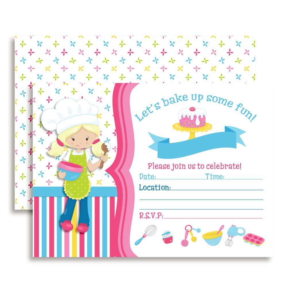 Bake Up Some Fun Cooking and Baking Themed Birthday Party Invitations for Girls, Ten 5''x7'' Fill In Cards with 10 White Envelopes by AmandaCreation by Amanda Creation